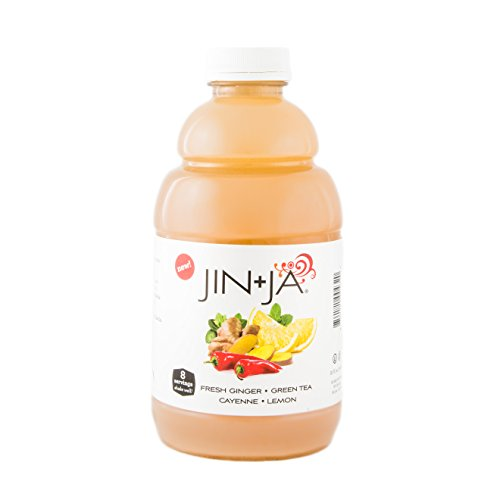 (Jin-Ja Green Tea - Antioxidant Infused Ginger Digestive Health Drink - Fresh Ginger, Cayenne Pepper, Green Tea, Lemon, Mint - 32 oz, Single)