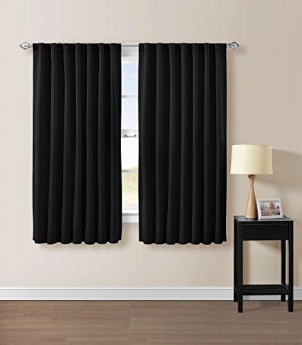 Cheap Solid Back Tab Thermal Insulated Blackout Window Curtain 104″Wx63″L -1 Pair (Black)