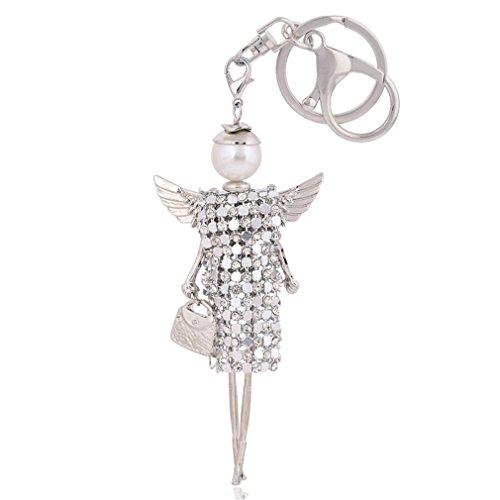 MOONER Cute Doll Angel Wings Crystal Key Chain Rhinestone Keyring Women Bag Charm Keychain Car Key Ring Pendant KC0126