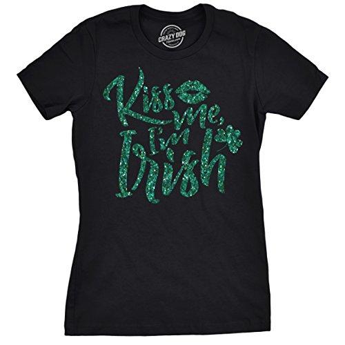 Crazy Dog T-Shirts Womens Kiss Me Im Irish Green Glitter Tshirt Funny ST Patricks Day Tee For Ladies (Kiss Ladies Tee)