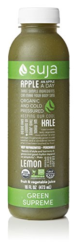 Suja Organic Cold-Pressed Juice, Green Supreme, 16 Fl Oz (Pack of 6), 100% Plant-Powered Vegetable and Fruit Juices, Vegan, Gluten-free, Non-GMO, Made in USA