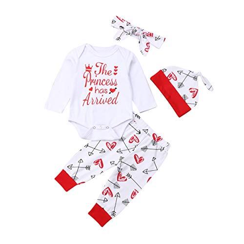 4 pcs Baby Girls Pants Set Newborn Infant Toddler Letter Romper Arrow Heart Pants Hats Headband Clothes (red 0, 6-12 Months)