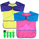 Toyvian Kids Art Smocks, Children's Painting Apron Waterproof Long Sleeve Apron with Painting Brushes, 2Pcs