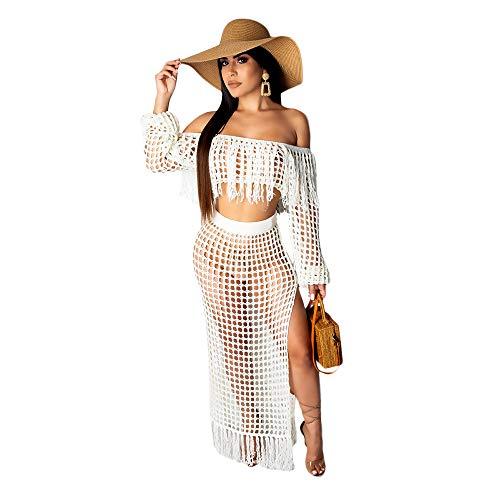 (Women 2 Piece Hollow Out Beachwear Summer Beach Sexy Tassel Dress Bathing Fashion for Bikini Party, Beach,Vacation White)