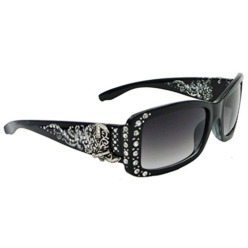 Western Cowboy Boot Sunglasses With Rhinestone Accents UV400 Protection (Black Silver, Black - Eyewear Boots