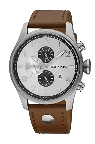 Ray Winton Men's Brown Genuine Leather Band Silver Dial Arabic Numerals Watch