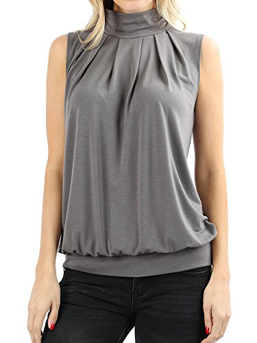 (The Lovely MID Grey Women Sleeveless Mock-Turtleneck Pleated Top with Waistband in S)