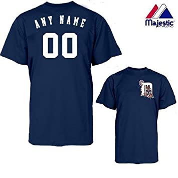 separation shoes ec3bd 1e38c Majestic Athletic Detroit Tigers Personalized Custom (Add Name & Number)  100% Cotton T-Shirt Replica Major League Baseball Jersey