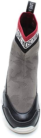 Love Moschino Sneakers Femmes JA15624 Perla Cuir Tissu Gris