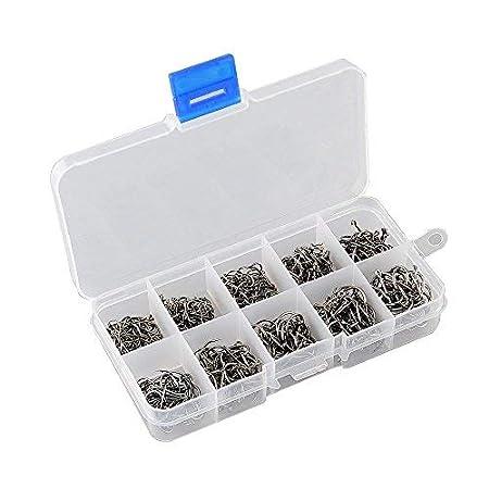 VIPMOON 500 St/ück Angelhaken Kohlenstoffstahl mit Kunststoffbox