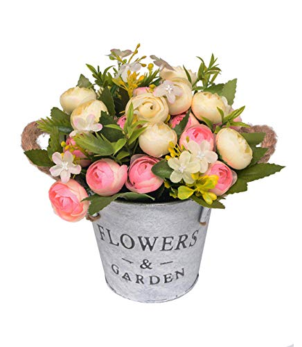 Charmly Artificial Flowers Potted European Style Design Silk Camellia Arrangements House Office Restaurant Table Centerpieces Windowsill Decor Camellia-Light Pink ()