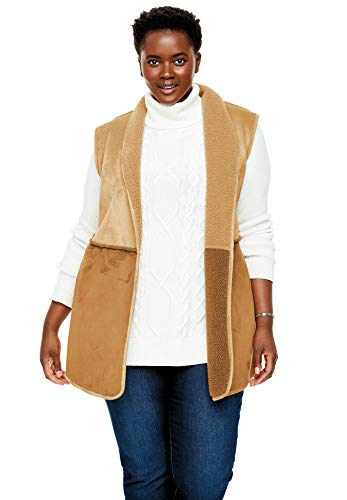- Woman Within Women's Plus Size Reversible Faux Sherpa Vest - Soft Brown New Khaki, 34/36