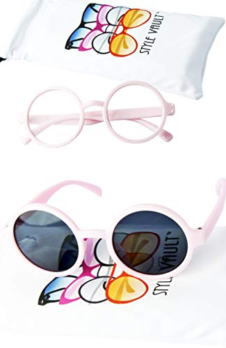 Kd3008 Baby Infant Toddlers Age 0~36 Months Round Retro Sunglasses (2-pack Pink&pink-clear lens)