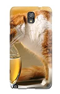 First-class Case Cover For Galaxy Note 3 Dual Protection Cover Cat Watching The Goldfish
