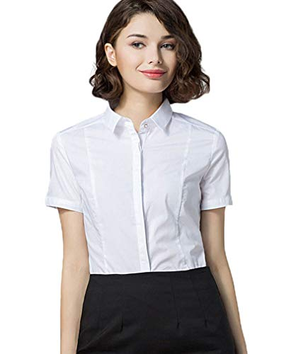 Soojun Women Short Sleeve Button Down Career Shirt Bodysuit Blouse, (US 4, 5-White)