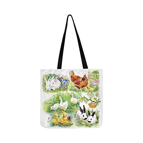 Watercolor White Ducks On Green Summer Grass Vecto Canvas Tote Handbag Shoulder Bag Crossbody Bags Purses For Men And Women Shopping Tote