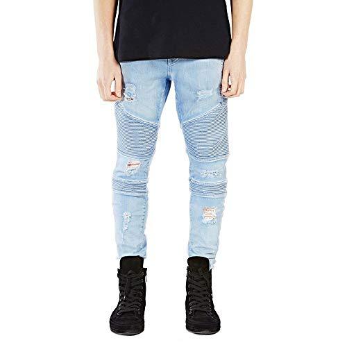 - DeReneletrc Men's Jeans Runway Slim Racer Biker Jeans Fashion Hiphop Skinny Jeans