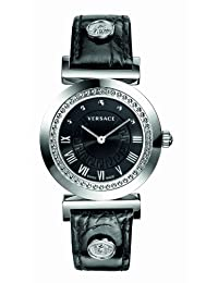 "Versace Women's P5Q99D009 S009 ""Vanity"" Stainless Steel Watch with Leather Band"