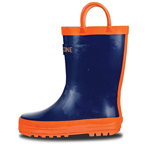 LONECONE Rain Boots with Easy-On Handles for Toddlers and Kids, Blue + Orange, 7 Toddler