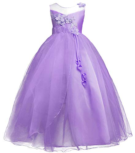 Big Girls Pageant Princess Kids Wedding Bridesmaid Full Length Maxi Tulle Prom Gown TZ11 (Purple, 11-12year)
