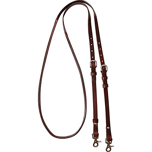 Cashel Company 8 foot Adjustable Reins w/Rawhide Trim 8FT Chocolate Rawhide Trim