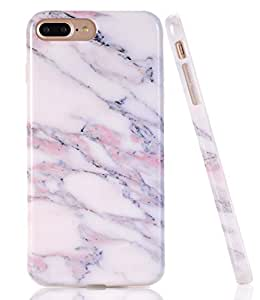 iPhone 7 Plus Case, White Gray Marble Creative Design, BAISRKE Slim Flexible Soft Silicone Bumper Shockproof Gel TPU Rubber Glossy Skin Cover Case for iPhone 7 Plus & iPhone 8 Plus