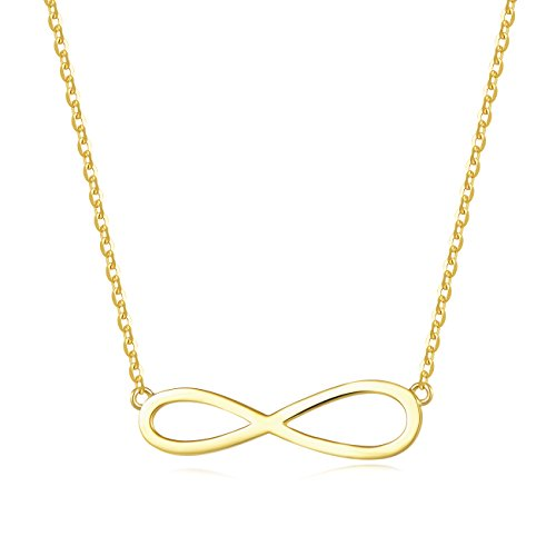 Carleen 18K Yellow Gold Plated 925 Sterling Silver Infinity Dainty Pendant Necklace for Women Girls with 15.75