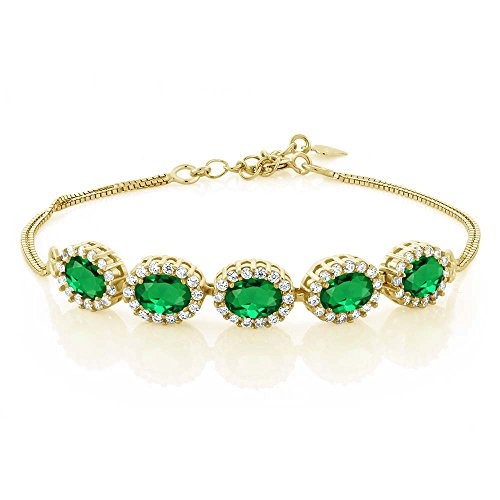 Emerald Gemstone Bangle Bracelet - Gem Stone King 4.04 Ct Oval Green Simulated Emerald 18K Yellow Gold Plated Silver Bracelet 7inches + 1.5inches Extender