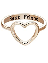 TiTCool Friendship Rings, Best Friends Letters Carved Fashion Heart Ring Simple Jewelry