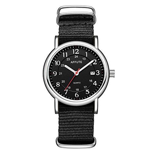 Tamlee Unisex 38mm Quartz Analog Watch with Date Nylon Slip-Thru Strap 30M Waterproof (Black) ()