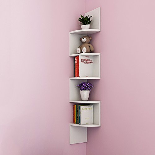 (TLMY Wooden 5Tier, Wall Corner Shelves Wall-Mounted Floating Display Shelves, (Total Height 115.5CM, W19.5CM), White Shelf)