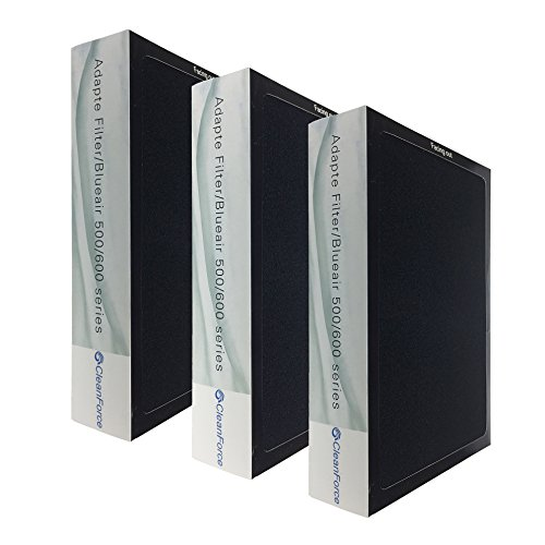 505 Series - Smokestop Filter for Blueair 500 / 600 Series, 3 Pack, Models 501 / 503 / 505 / 510 / 550E / 555EB / 601 / 603 / 650E, Designed & Engineered by CleanForce
