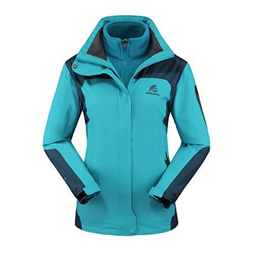 Women's Men's 3 in 1 Interchange Soft Shell Waterproof Fleece Ski Jacket Rain Coat