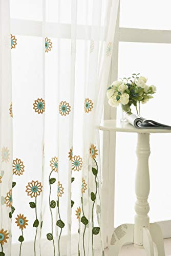 TIYANA Home Decor Off White Sheer Curtain Panels for Living Room Floral Embroidery Drapery Light Allowance Rod Pocket Top Sweet Design Window Treatment for Kids Room, Sweet Flower 1 Piece 40x84 inch