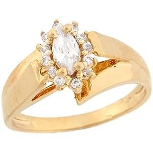 Amazon.com: Jewelry Liquidation 10k Yellow Gold White CZ