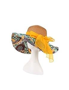 Sombrero de Playa Sombrero de paja Primavera femenina y arco de verano a lo largo de la tapa de playa Sombrero de sol Sun sombrero sombrero plegable UPF 50 para Mujer