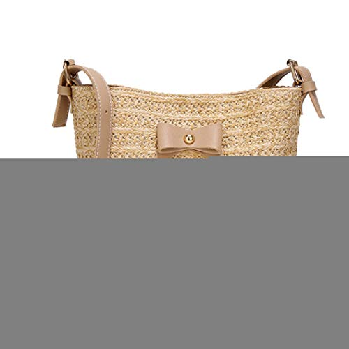 Women Summer Bow Straw Bags Handmade Woven Shoulder Bag Bohemia Bali Beach Cross Body Handbag ()