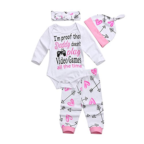 Dovee 4PCS Newborn Toddler Baby Girls Suits Long Sleeve Romper Jumpsuit Bodysuit+ Love Pants+ Hat + Headband Outfits Set Clothes - Video Outfit The Game