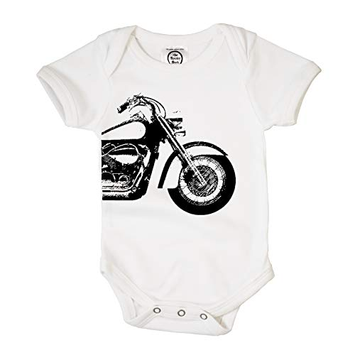 The Spunky Stork Motorcycle Organic Cotton Baby Bodysuit (12-18M) White
