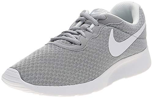 NIKE Women's Tanjun Wolf Grey/White Size 6 B(M) US (Nike Shoes Roshe Grey)