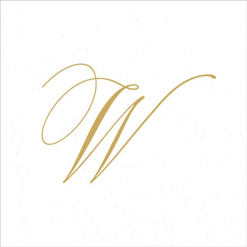 Entertaining with Caspari White Pearl Paper Linen Cocktail Napkins, Monogram Initial W, Pack of 30 by Caspari