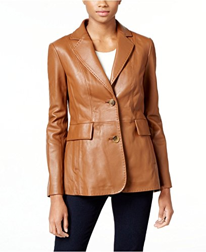 (World Of Leather Women's Lambskin Genuine Leather Jacket Blazer Casual Cognac (L))