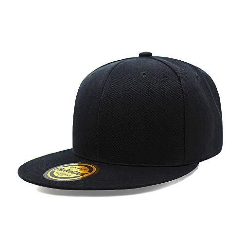 Flat Visor Snapback Hat Blank Cap Baseball Cap - 8 Colors (Black) -