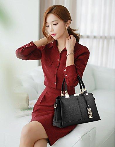 Tisdaini Donne Rosso Borse Moda Elegante Sacchetto Pu Tre Portafoglio Strati Morbido Di Del Spalla Delle wOPEwqrn6
