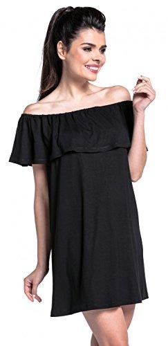 Zeta Ville - Vestido skater doble capa diseño cuello bardot - para mujer - 624z Negro