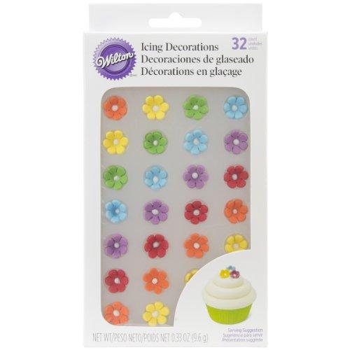 Wilton Royal Icing Decorations 32/Pkg-Rainbow Daisies - Rainbow Daisy