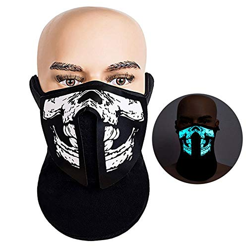 AOLVO Light Up Mask LED Sound Activated Mask Rave Music Flashing Luminous Cool Party Dust Mask for Dancing Riding Christmas Halloween Any Festivals - Sound Sensitivity Adjustable - A ()