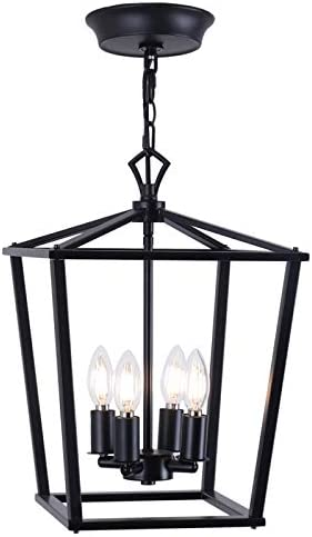 Luenfat Farmhouse Chandelier, Lantern Pendant Light, Industry Foyer Ceiling Lighting Fixture,12inch,Black, Vintage Openwork Cage Hanging Light for Kitchen Island Dining Room,Stairwell Shop Black