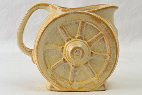 Frankoma Pottery Creamer, 1933-54 Desert Gold Wagon Wheel Creamer with sticker Ada (Pottery Wagon Wheel)