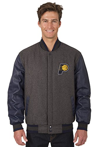 Indiana Pacers NBA Jacket Wool Leather Sleeves Reversible Embroidered Logos - Leather Pacers Indiana Embroidered